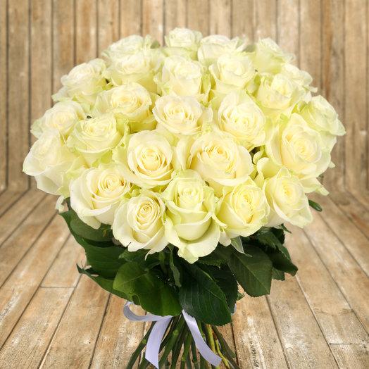 """Букет из 25 белых роз """"Мондиаль"""": букеты цветов на заказ Flowwow"""