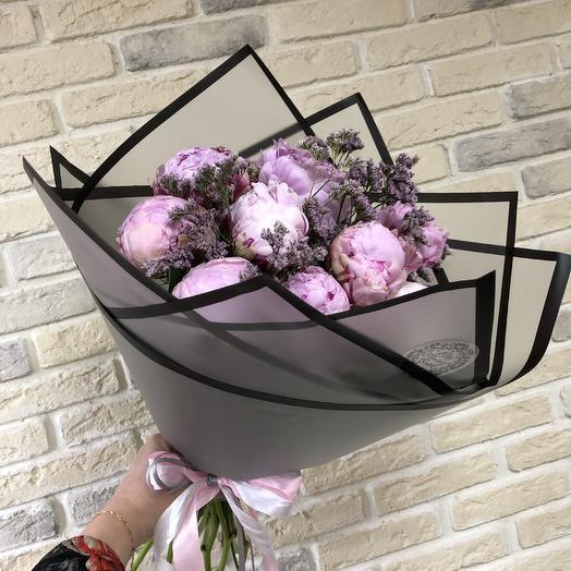 Стильный букет из 9 пионов: букеты цветов на заказ Flowwow