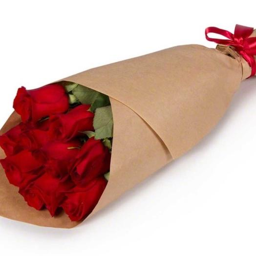 9 роз в крафт бумаге: букеты цветов на заказ Flowwow