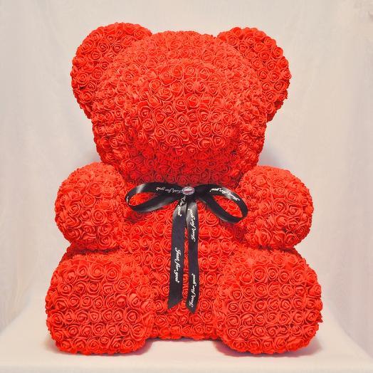 Мишка из роз RozaRose Красный - 70 см: букеты цветов на заказ Flowwow