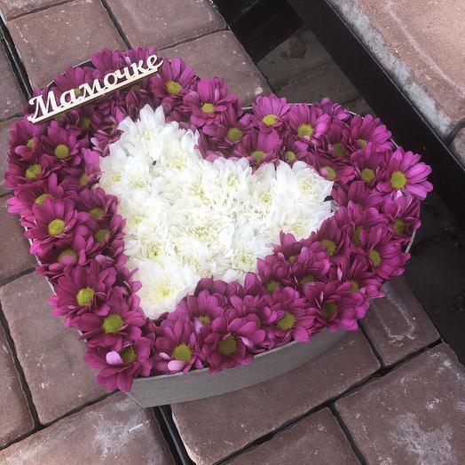 Сердце из Хризантемм: букеты цветов на заказ Flowwow