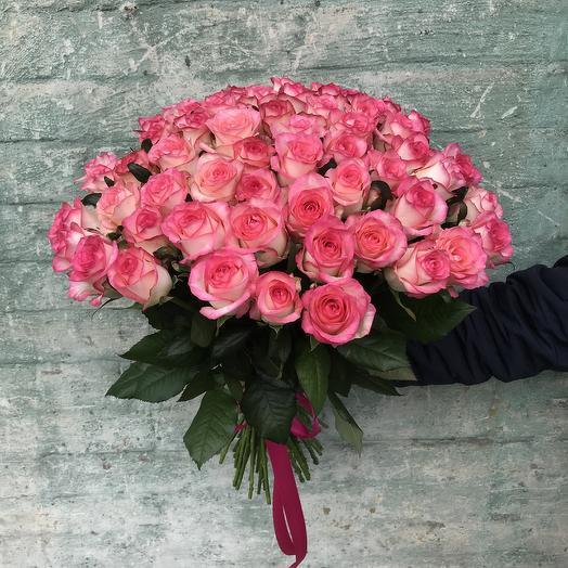 Букет нежно-розовых роз (51 шт): букеты цветов на заказ Flowwow