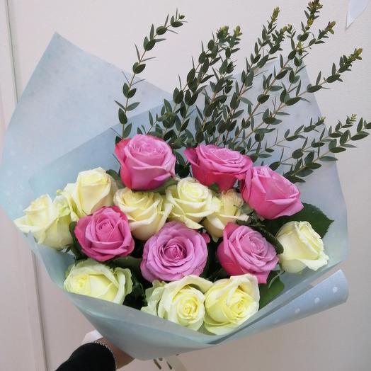 Роза микс 15 штук: букеты цветов на заказ Flowwow