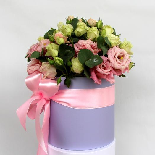 "Шляпная коробка с эустомой ""Pink lady"": букеты цветов на заказ Flowwow"
