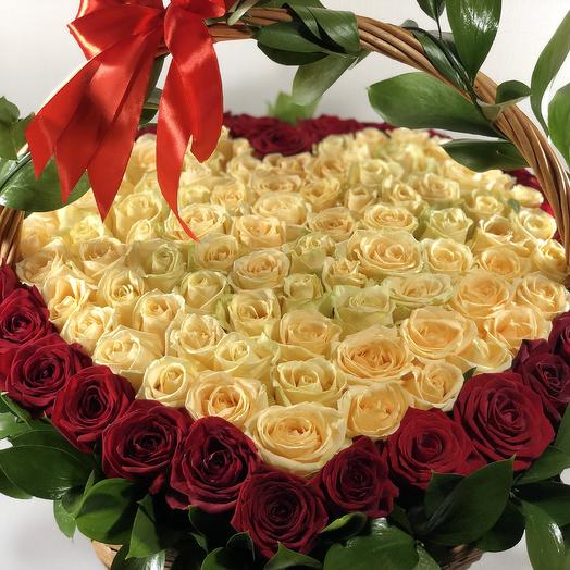 Корзина с сердцем 2: букеты цветов на заказ Flowwow