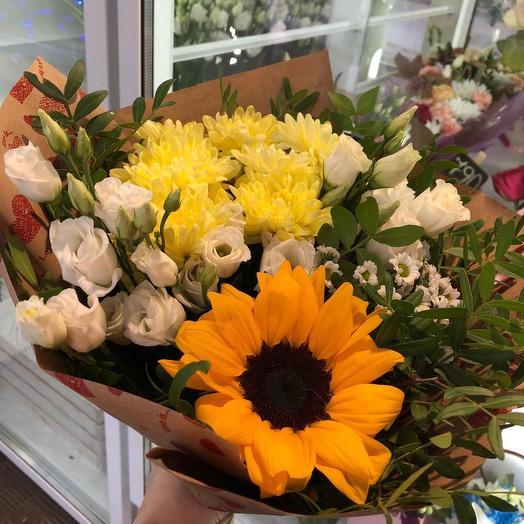 Букет с подсолнухом: букеты цветов на заказ Flowwow