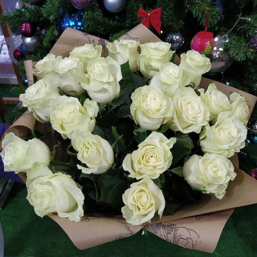 """Букет 21 белая роза """"Снежная Королева"""""""
