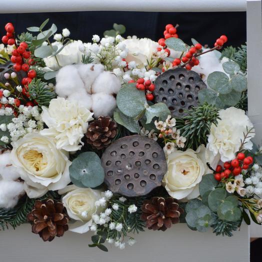 """Цветы в ящике """"Снежный вальс"""": букеты цветов на заказ Flowwow"""