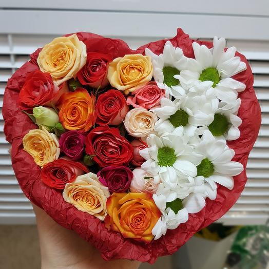 Сердце микс: букеты цветов на заказ Flowwow
