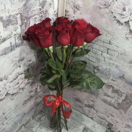 Букет 9 красных роз 60 см
