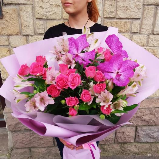 """Букет с орхидеями и розами """"На счастье"""": букеты цветов на заказ Flowwow"""