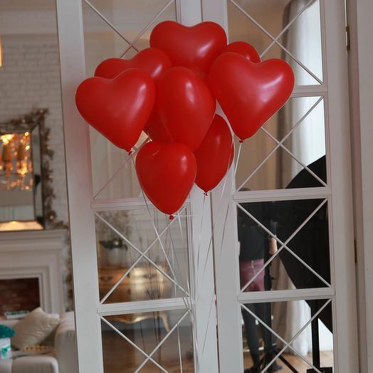 Красные сердца 9шт