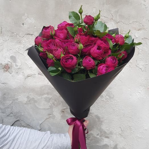 Монобукет из красной пионообразной розы