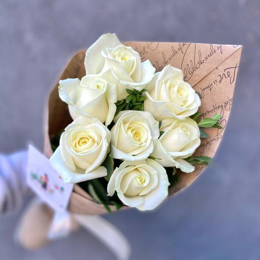 Букет 7 белых роз «Аваланж»