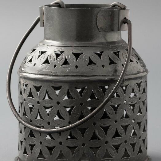 Металлический резной подсвечник бидона (латунь)(никель)(черное порошковое напыление) (Цвет-Железо)