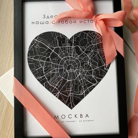 Карта города «Сердце», чёрный цвет
