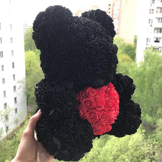 Мишка из роз 40см медведь