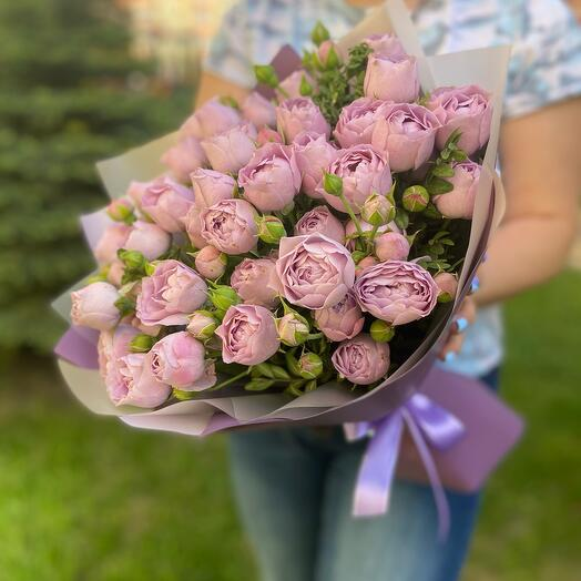 Букет кустовых пионовидных роз «Лавендер»
