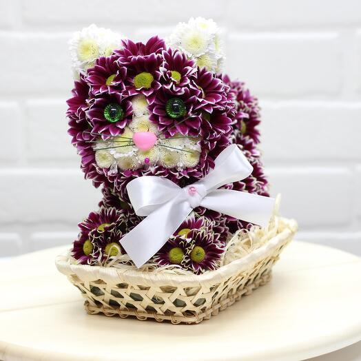 Кошка из живых цветов отличный подарок