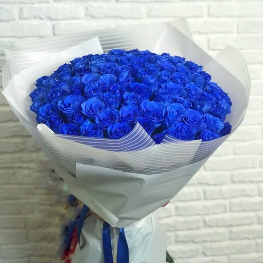 Букет живых синих роз 101 шт