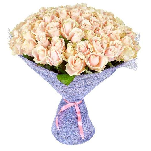 Букет из 101 кремовой розы: букеты цветов на заказ Flowwow