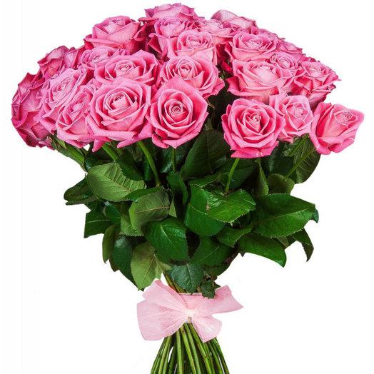 Букет из 25 розовых роз с лентой