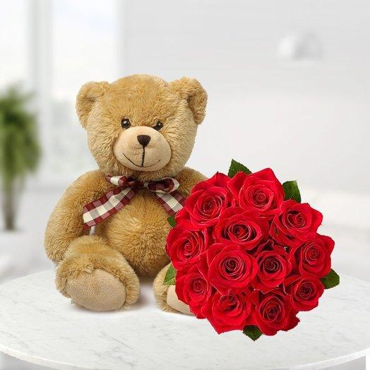 Мягкая игрушка с розами: букеты цветов на заказ Flowwow