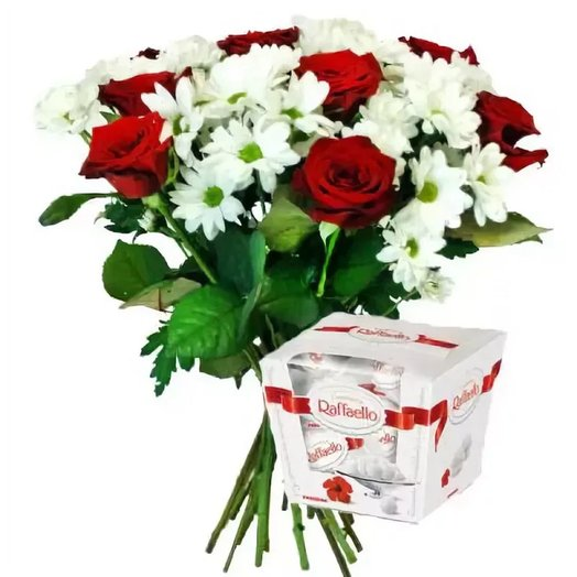 Набор Розы, ромашки и Рафаэлло