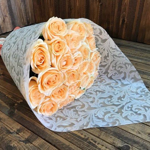 25 роз Пич Аваланж: букеты цветов на заказ Flowwow