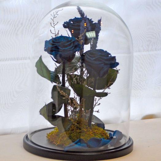 "КОМПОЗИЦИЯ ИЗ РОЗА В КОЛБЕ ТРИО ""МОРСКАЯ ВОЛНА"": букеты цветов на заказ Flowwow"