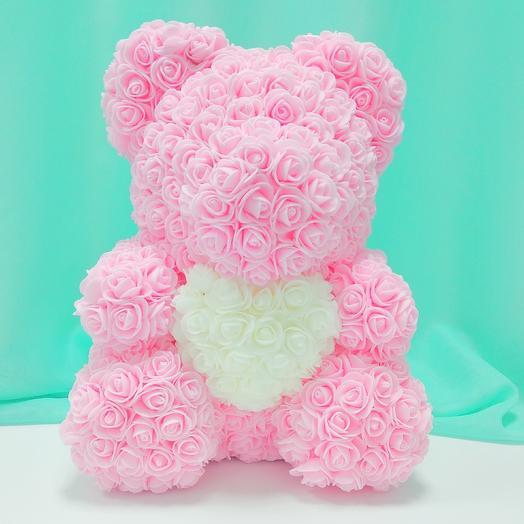 Мишка из роз с сердцем: букеты цветов на заказ Flowwow