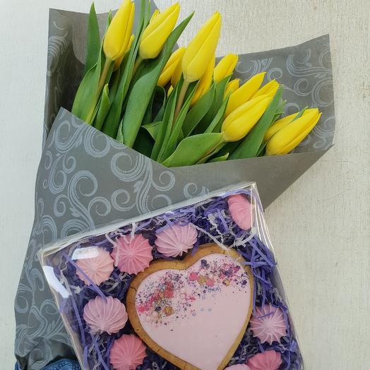 Тюльпаны для тебя с пряничком: букеты цветов на заказ Flowwow