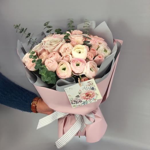 Стильный букет с лютиками: букеты цветов на заказ Flowwow