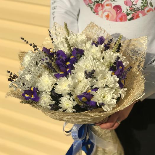 1 сентября. Букет из хризантем с ирисами. N566