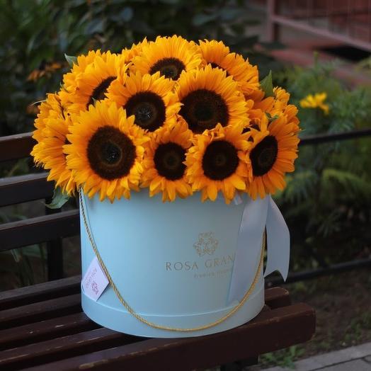 До 35 подсолнухов в шляпной коробке: букеты цветов на заказ Flowwow