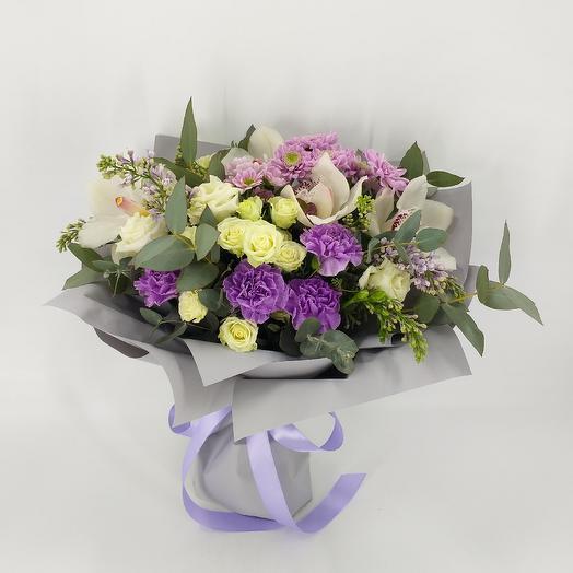 Авторский букет с орхидеями и сиренью: букеты цветов на заказ Flowwow