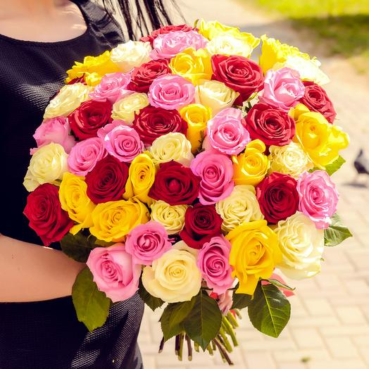 Bouquet of 51 multi-colored roses