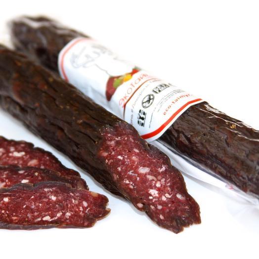 Коньячная колбаса из оленины сырокопченая