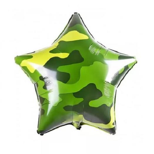Шар звезда на 23 февраля «Камуфляж»