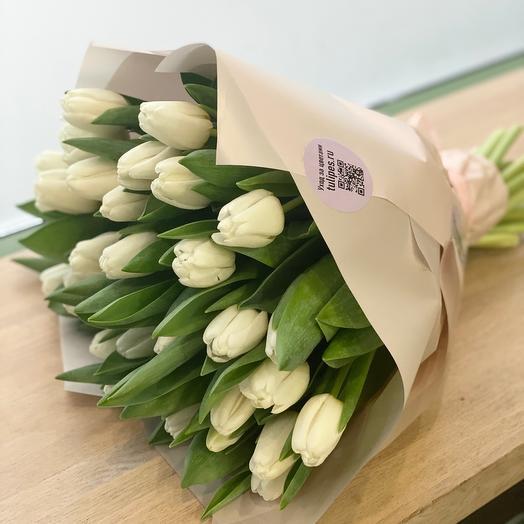 Белый тюльпан 35 шт 💙💙💙