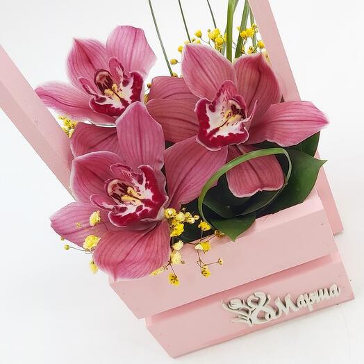 Розовые орхидеи в ящичке