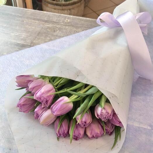 Лиловые пионовидные тюльпаны 15 шт