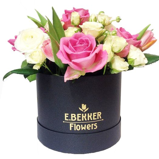 Нежность  в шляпной коробке 15*20: букеты цветов на заказ Flowwow