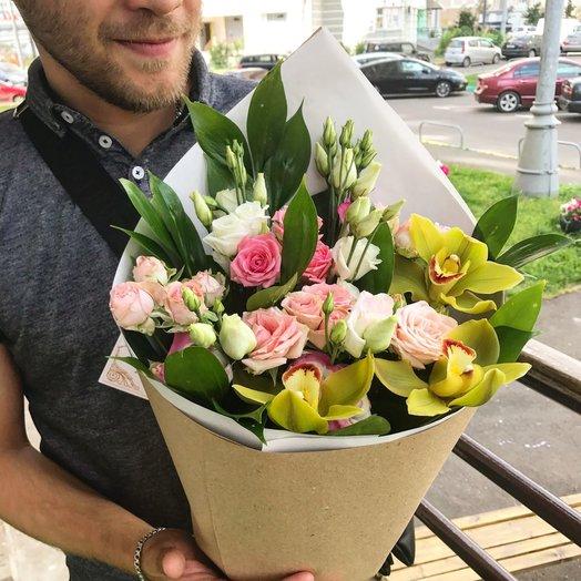 """Букет """"Гармония""""с орхидеями и розами"""