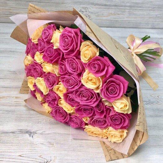 Розы. Букет из 51 розы (50см) Кремовые , розовые. N23: букеты цветов на заказ Flowwow
