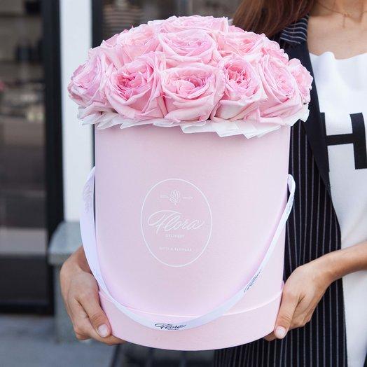 Розовые розы Pink O hara в шляпной коробке Grand PINK: букеты цветов на заказ Flowwow
