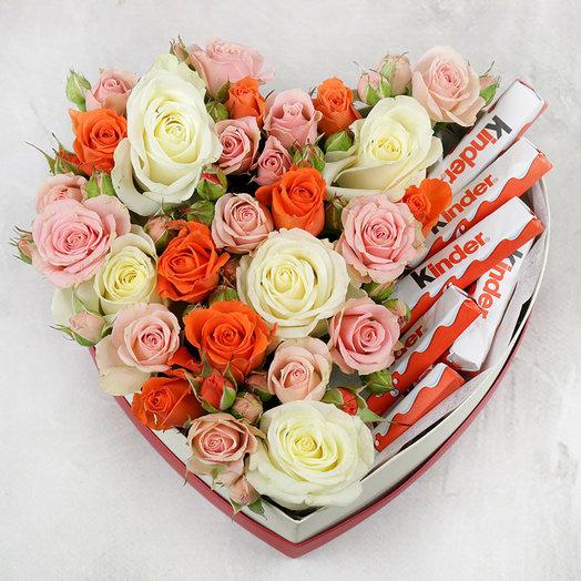 Розы в сердце с киндер шоколадом