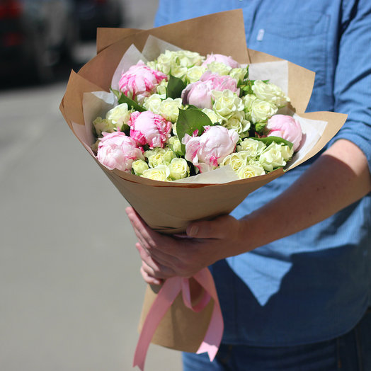 Spray roses and peonies