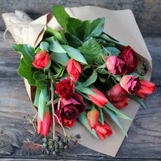 Весенний красный (Букет 11): букеты цветов на заказ Flowwow