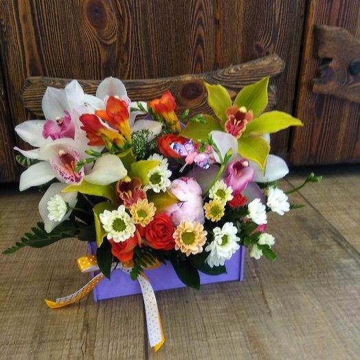Тропический конверт орхидея роза: букеты цветов на заказ Flowwow